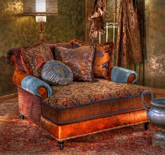 I want this chair!  I would move all my bookshelves around it and never leave! Bohemian and elegant.