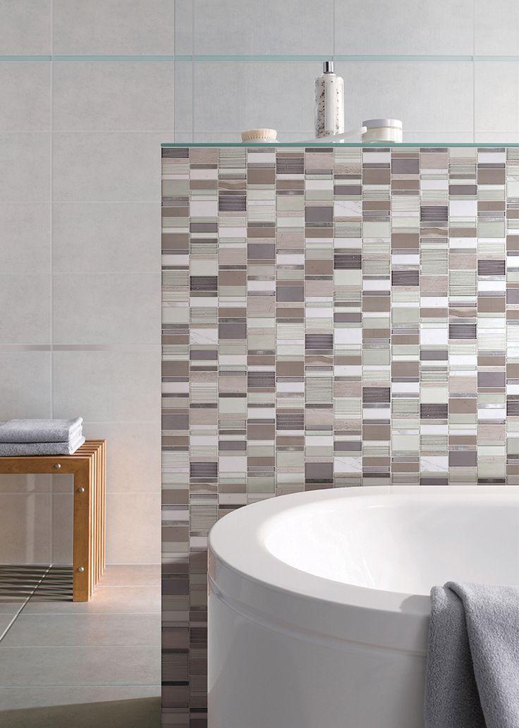 feel the warmth with a neutral mosaic glass tile modern bathroom bathroom tile
