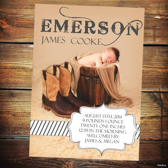 Rustic Baby Announcement Card Baby Birth by TwistedSisterShop, $1.25