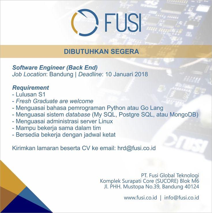 Fusi Global Teknologi is HIRING for Software Engineer as Back End, Web/Apps Front End and Desktop Front End >> http://bit.ly/2Dikyf2   DEADLINE: 10 January 2018 #itbcc #karirITB #ITBcareer