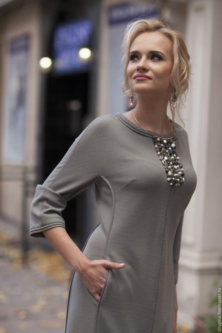 Купить платье PIETRE - серый, стрыгина, платье, офисный стиль, офисная линия, офисная одежда