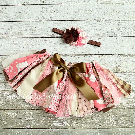 Pink Brown Cowgirl Birthday Girls Tutu Shabby by ThePickledPeanut