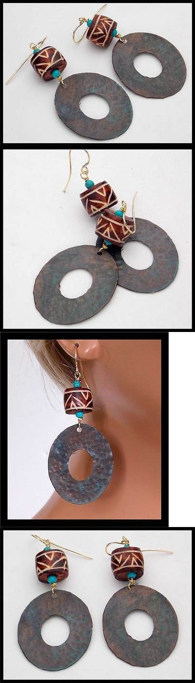 Other African Jewelry 34064: Naja - African Tribal Bovine Bone - Handforged Hammered Bronze Earrings BUY IT NOW ONLY: $32.0