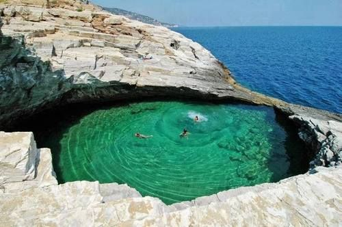 "A ""natural pool"" on Thasos, a Greek island in the northern Aegean Sea"