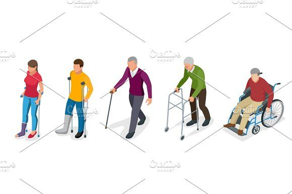 Fracture of leg or leg injury. Young and old people in a gyse with crutches, a wheelchair. Rehabilitation after trauma. Orthopedics and medicine. Flat 3d isometric illustration by Golden Sikorka  on @creativemarket