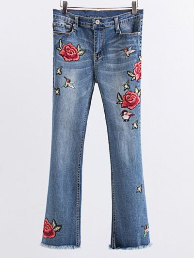 SHARE & Get it FREE | Rose Embroidered Frayed Boot Cut JeanFor Fashion Lovers only:80,000+ Items • New Arrivals Daily Join Zaful: Get YOUR $50 NOW!
