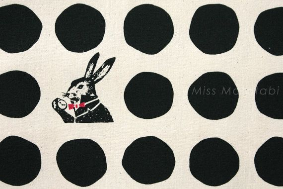 Japanese Fabric Kokka Etsuko Furuya x Nunokara - white rabbit - A - black