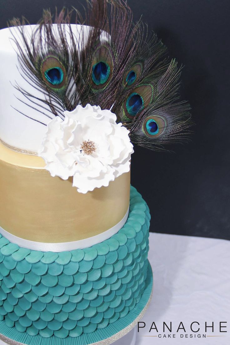 peacock themed wedding cake engagement weddingcakes green purple feathers statement cakes London gold white green contemporary