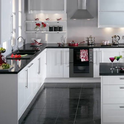 White Kitchen Black Floor kitchen-compare - compare retailers - white gloss shaker