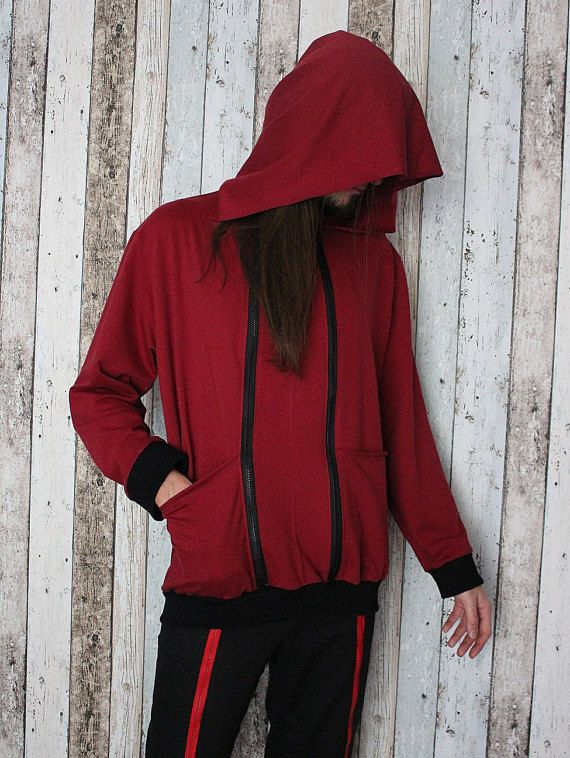 """A handcrafted sweatshirt with a huge hood, 2 zips and ribbed cuffs and hem. One of a kind. The only one in the world like it. As unique as you!!! Made from BIO cotton.  Chest: up to 120 cm (47"""") Length: 75 cm (30"""")  FREE SHIPPING WORLDWIDE"""