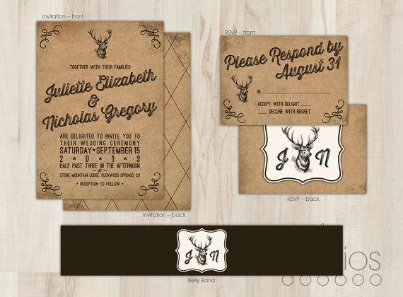 diy rustic deer wedding invitation suite custom by lestudios - Deer Wedding Invitations