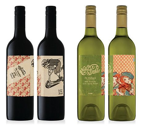 Left: cool how they have the wine info in the ribbon... wondering how could make a bigger label work as well as have a 'back' label with description/legally required content