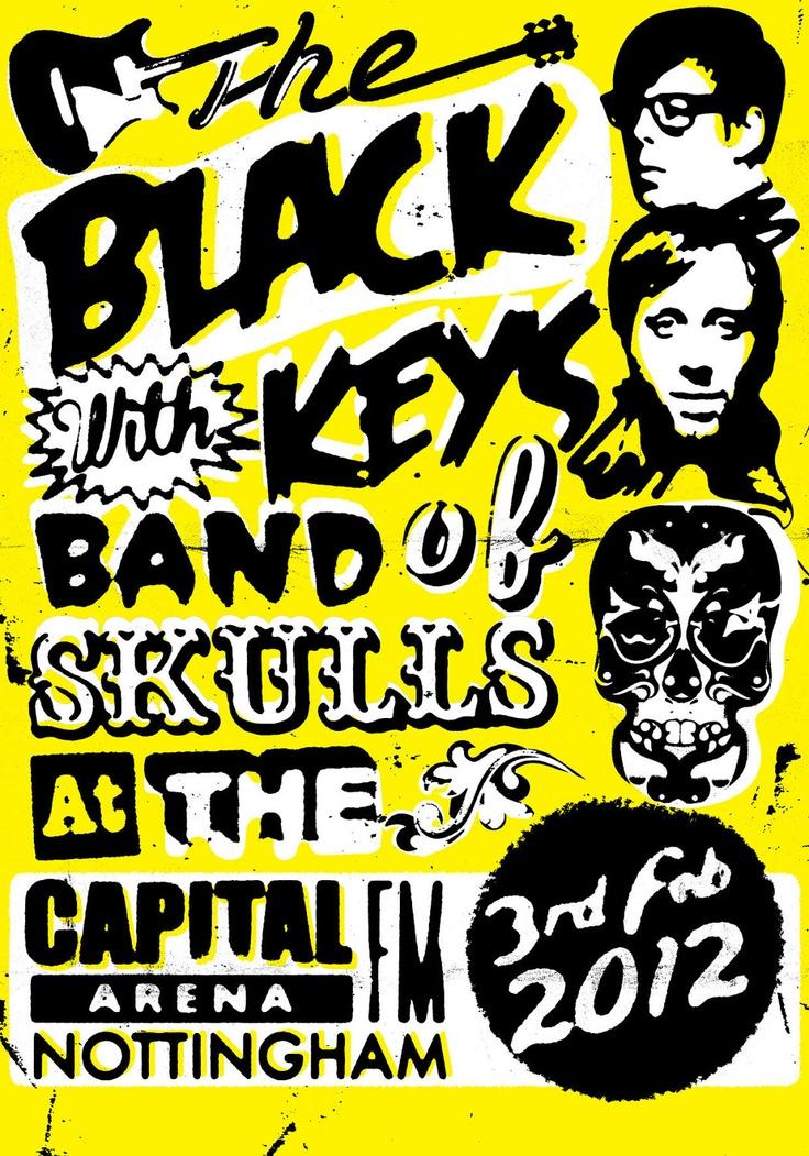 concert poster band flyers the black keys concert posters band of skulls. Black Bedroom Furniture Sets. Home Design Ideas