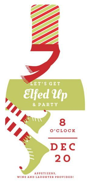 Wine Bottle Shaped Elfed Up Holiday Party Invitation by PurpleTrail.com. Plus Funny Christmas Party Invitation Wording Ideas, Samples, and Tips