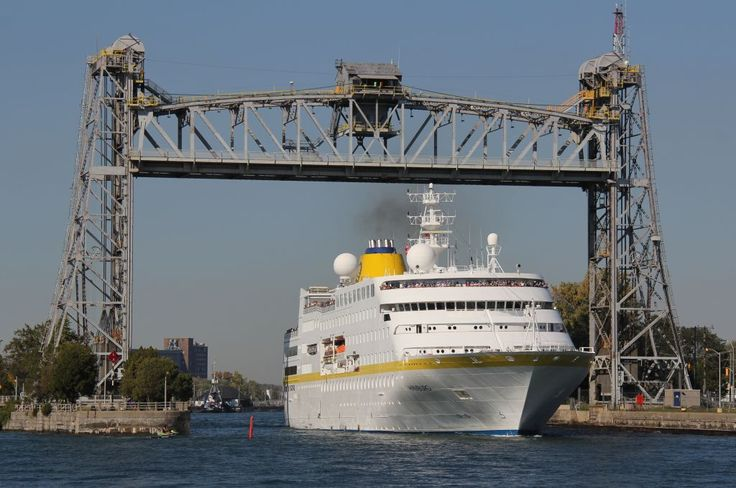 Cruise ship Hamburg passing under Bridge 21 in Port Colborne Ontario on Sept 27, 2014.