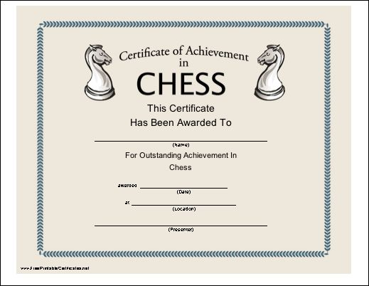 This printable certificate, illustrated with chessboard knights, recognizes outstanding achievement in playing chess. Free to download and print