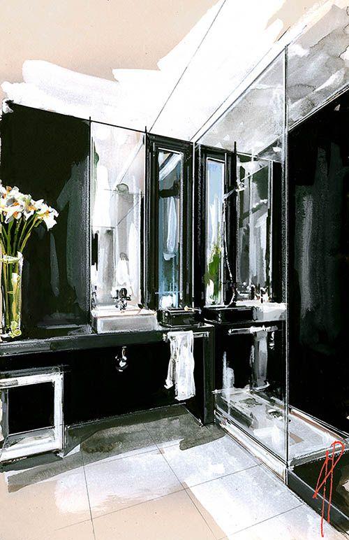 interior illustration and visualization, watercolor illustration, handmade rendering - modern - Andrea Prandini