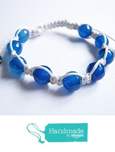 Blue Lace Agate Gemstone Shamballa Style Bracelet from Anneth Designs https://www.amazon.co.uk/dp/B01M72OGHU/ref=hnd_sw_r_pi_dp_Gxi-ybBTC5M0S #handmadeatamazon