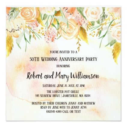 Blush Pink and Gold 50th Anniversary Invitations - rose style gifts diy customize special roses flowers