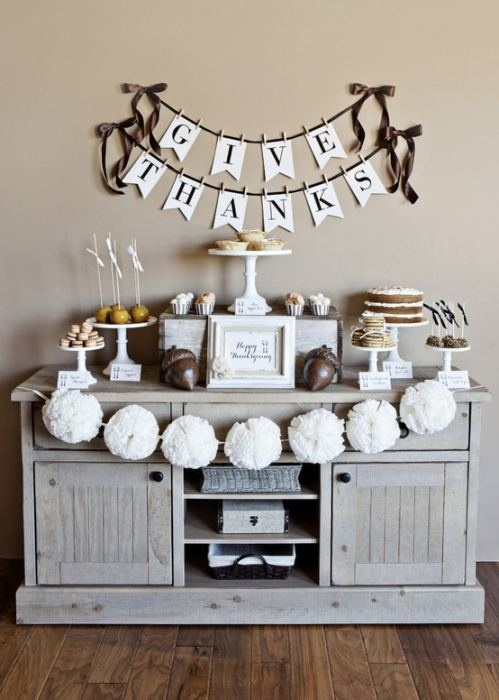 Thanksgiving Decor.  Give Thanks banner. ANd definitely all the desserts just sitting out all the time. ;)