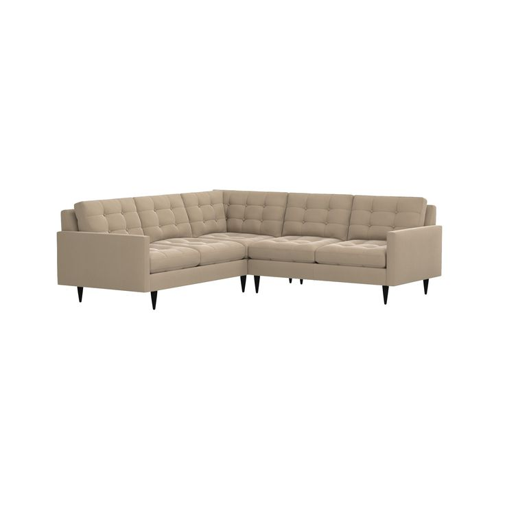 Shop Petrie 2-Piece Corner Midcentury Sectional Sofa. Now a Crate and Barrel classic, its pure 1960s aesthetic is scaled deep so you can sit firm and upright, but also slouch back in comfort.