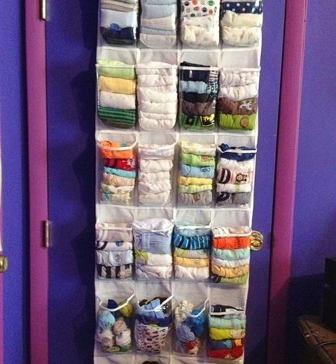 Save Space And Get Organized With A Hanging Shoe Caddy -  This is a great idea for little kids clothing.  You can see them so you can match outfits.