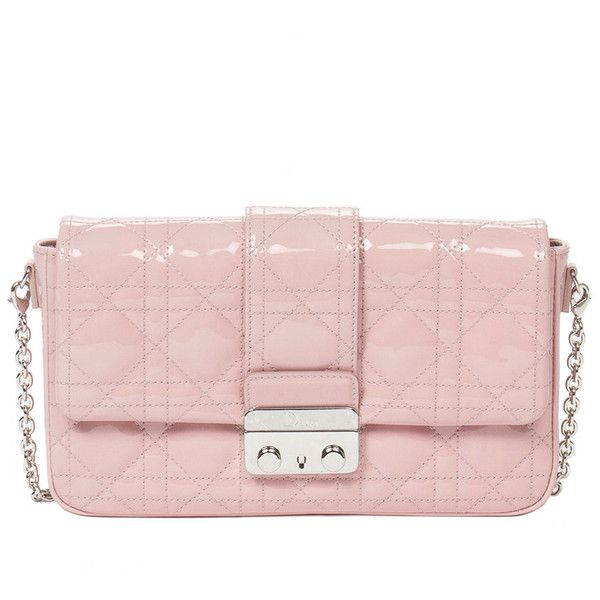 Pre-owned Miss Dior Pouch Pink (1,870 CAD) ❤ liked on Polyvore featuring bags, handbags, shoulder bags, handbags and purses, long shoulder bags, light pink shoulder bag, pink purse, purse shoulder bag and man pouch bag