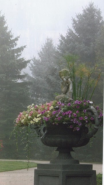 Stately urn flowing with flowers