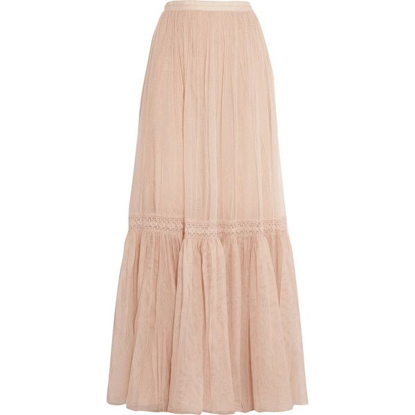 Needle & Thread Crochet-paneled tulle maxi skirt (1 545 ZAR) ❤ liked on Polyvore featuring skirts, beige, floor length maxi skirt, long tulle maxi skirt, pink tulle skirt, beige tulle skirt and long skirts