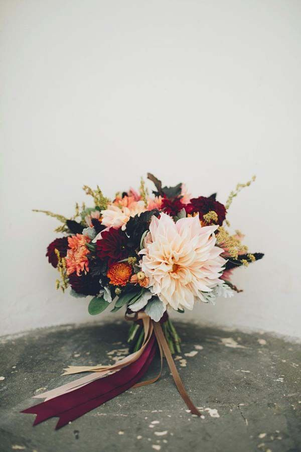 November Wedding Bouquet Bridal Bouquets Fall Flowers Arrangements, burgundy, peach, orange, dahlias
