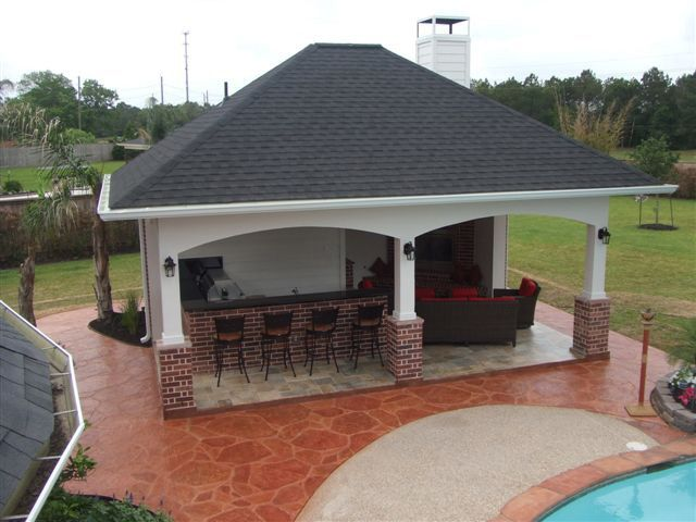 Cabana By Pool | Pool Cabana with outdoor kitchen and outdoor fireplace Katy Lakepointe ...