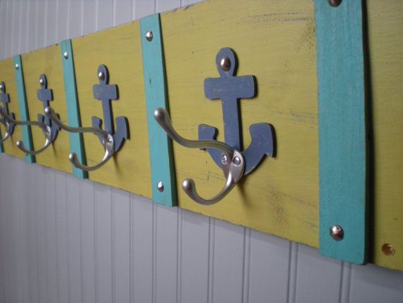 Nautical Coat Rack In Spring Green, Trimmed In Turquoise With Blue Anchors Part 82