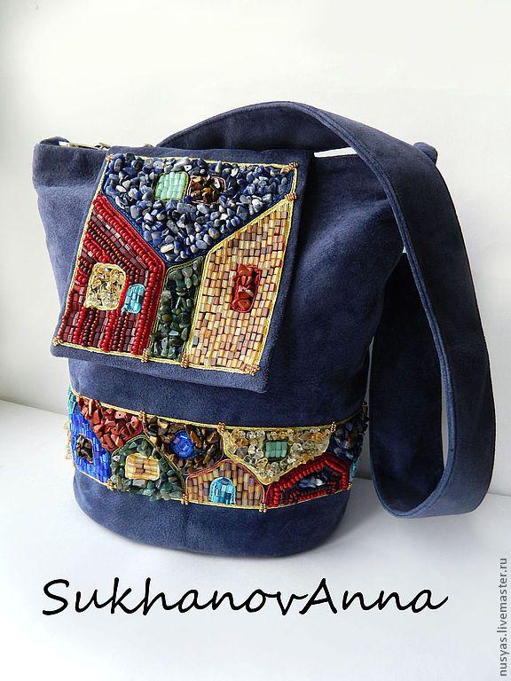 """Купить Сумка-рюкзак из серии """"Акварельный город"""" - тёмно-синий, сумка замшевая, рюкзак замшевый"""