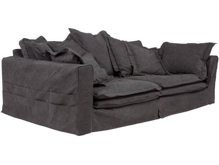 Massivum Sofa Sarita Grau 240x75x144cm 100 Polyester Sofa