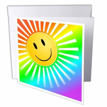 3dRose Yellow Smiley Face Sun on Rainbow Background, Greeting Cards, 6 x 6 inches, set of 12
