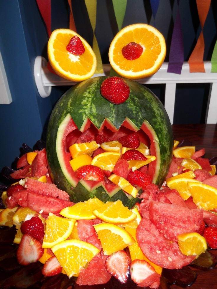 Monster Birthday Party! Watermelon Monster Fruit Plate. :)