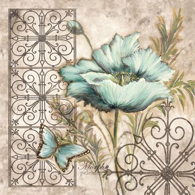 RB1877 <br> Blue Poppy Butterfly I <br> 12x12