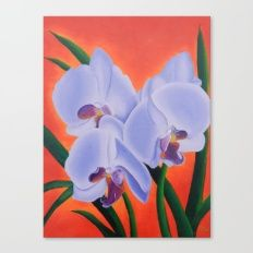 Just The Three Of Us Canvas Print - purple orchids on orange background