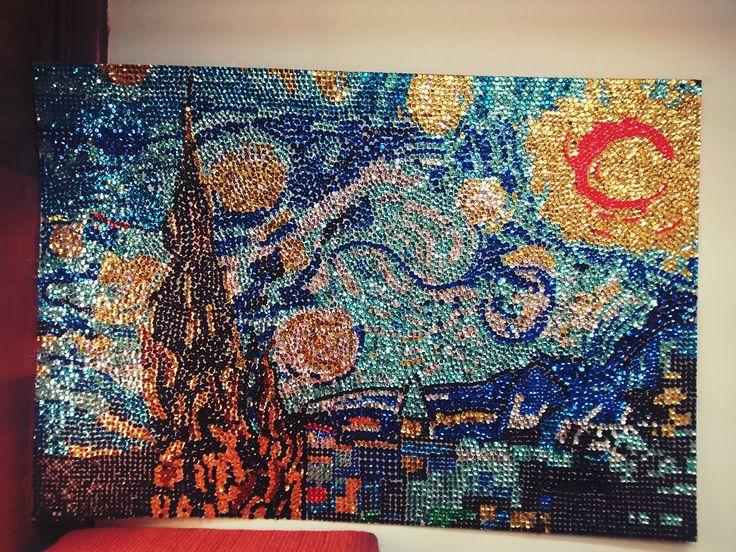 Puntillismo con técnica de lentejuelas La noche Estrellada - Vincent van Gogh