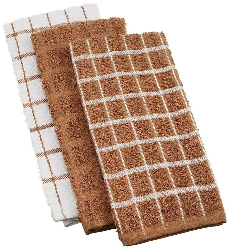 3 Piece Mocha Brown White Dish Towels Window Pane Kitchen Drying Cleaning Wiping