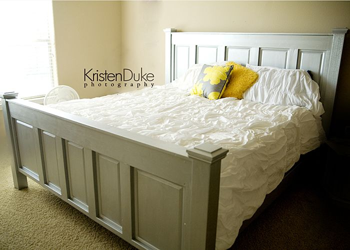 diy bed using kitchen cabinets. also love the silver paint! www.Capturing-Joy.com
