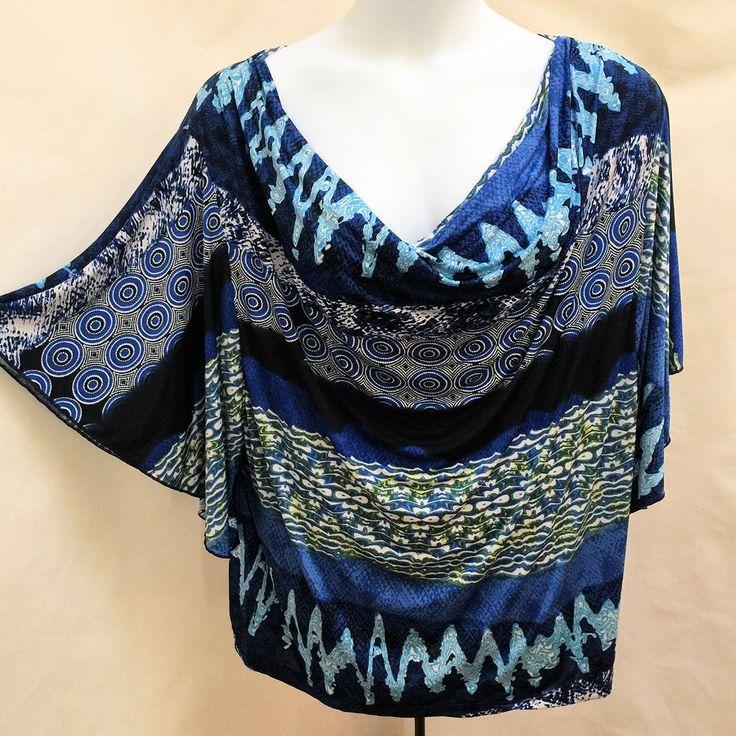 Ashley Stewart 26 Blue Artsy Geometric Kimono Sleeve Draped Plus Size Top #AshleyStewart #Blouse #EveningOccasion #Plussize #Plussizefashion