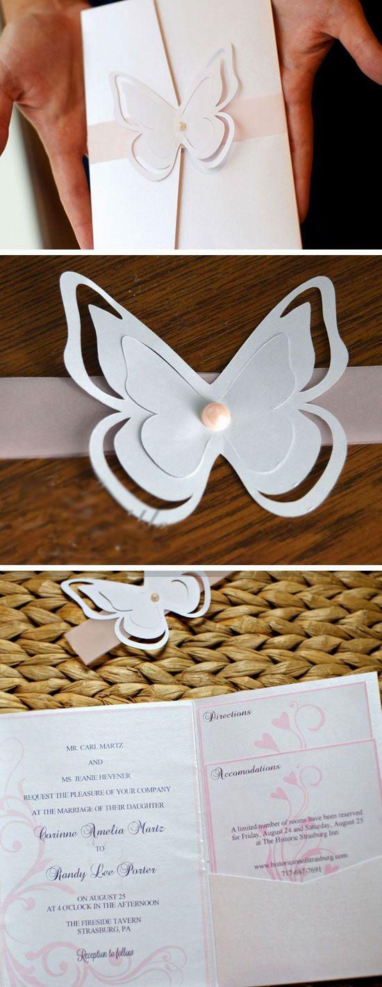 Silhouette Butterflies DIY Winter Wedding Invitations / http://www.himisspuff.com/diy-wedding-invitations/4/