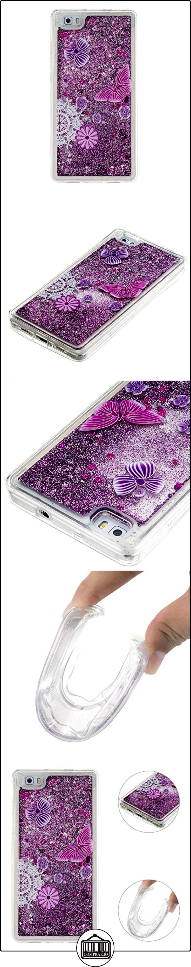 Funda Huawei P8 Lite Púrpura Bling Arena Movediza Lentejuelas Concha Blanda,Moon mood® 3D Moda Fluido Líquido Quicksand Estrellas Case Cubierta para Huawei P8lite Silicona Slim Caso Trasero Sparkle Brillar Glitter Claro Cristal Bumper TPU Soft Shell Caja para Cáscara para Huawei P8 Lite 5.0 pulgada  ✿ Regalos para recién nacidos - Bebes ✿ ▬► Ver oferta: http://comprar.io/goto/B01N5CPS9K