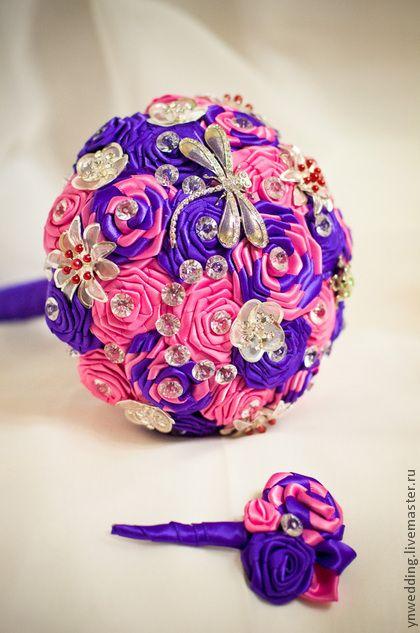 """Букет невесты из лент и брошей - """"Фиолетовая фантазия"""". Handmade."""