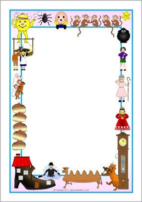 Nursery Rhymes A4 Page Borders Sb5218 Sparklebox