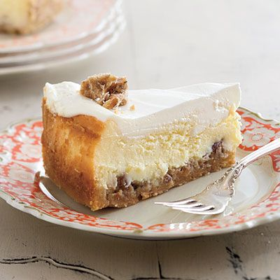 Praline-Crusted Cheesecake.. Crumbled pralines and sugared shortbread make an out-of-this-world crust for classic cheesecake. Either make your own pralines or buy them to cut back on prep time.