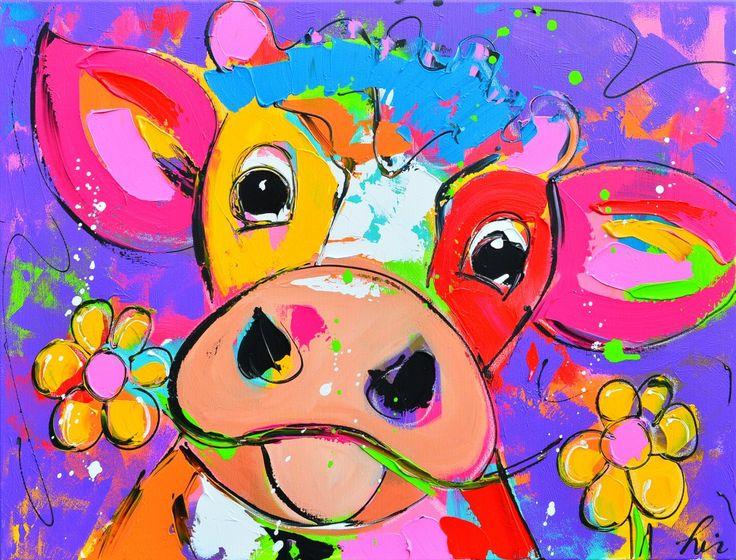 Dit is een: Acrylverf op doek, titel: 'Liz vrolijke koe op Paars' kunstwerk vervaardigd door: Liz