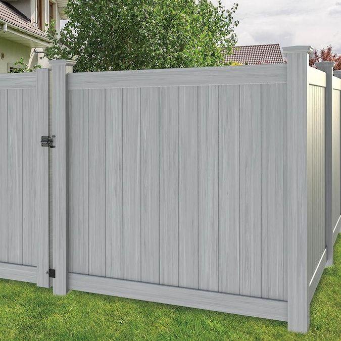 Freedom Actual 5 83 Ft X 5 56 Ft Hampton Woodgrain Gray Vinyl Flat Top Vinyl Fence Panel Lowes Com In 2020 Vinyl Privacy Fence Vinyl Fence Panels Vinyl Fence