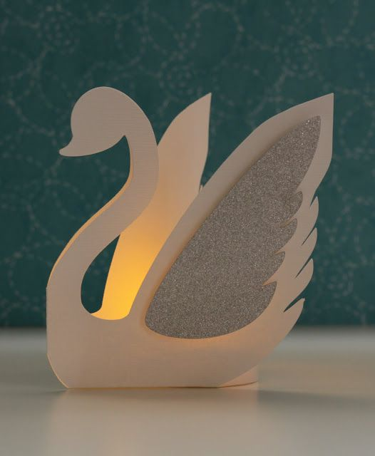 3 Dimensional Swan Favor with battery tea light. I used my Cameo!